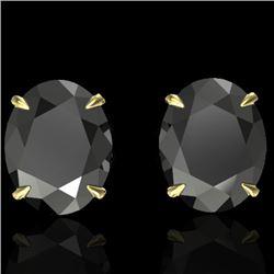 10 CTW Black VS/SI Diamond Designer Solitaire Stud Earrings 18K Yellow Gold - REF-218T5M - 21656