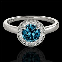 1.15 CTW Si Certified Fancy Blue Diamond Solitaire Halo Ring 10K White Gold - REF-152N8Y - 33468