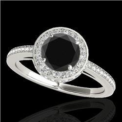 1.55 CTW Certified VS Black Diamond Solitaire Halo Ring 10K White Gold - REF-86M9H - 34277