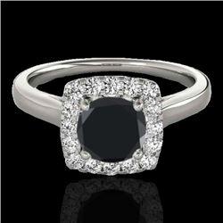 1.37 CTW Certified VS Black Diamond Solitaire Halo Ring 10K White Gold - REF-68F2N - 33412