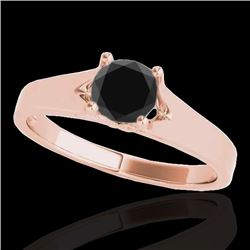 1 CTW Certified VS Black Diamond Solitaire Ring 10K Rose Gold - REF-45W3F - 35159