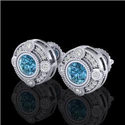 1.5 CTW Fancy Intense Blue Diamond Art Deco Stud Earrings 18K White Gold - REF-178X2T - 37698