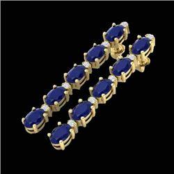 17.97 CTW Sapphire & VS/SI Certified Diamond Tennis Earrings 10K Yellow Gold - REF-145W5F - 29490