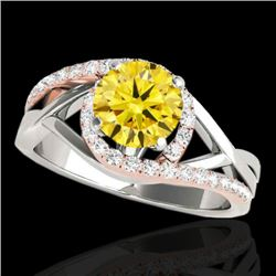 1.3 CTW Certified Si Intense Diamond Bypass Solitaire Ring 10K White & Rose Gold - REF-165H8A - 3508
