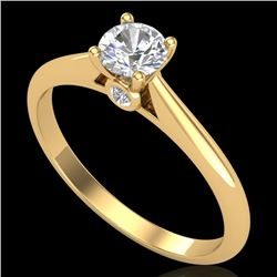 0.4 CTW VS/SI Diamond Solitaire Art Deco Ring 18K Yellow Gold - REF-58A2X - 37279