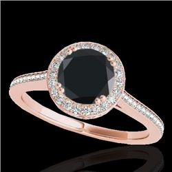 2.03 CTW Certified VS Black Diamond Solitaire Halo Ring 10K Rose Gold - REF-101F3N - 33539