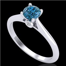 0.56 CTW Fancy Intense Blue Diamond Solitaire Art Deco Ring 18K White Gold - REF-81W8F - 38188