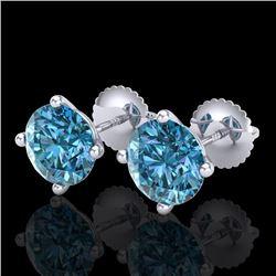 3.01 CTW Fancy Intense Blue Diamond Art Deco Stud Earrings 18K White Gold - REF-472H8A - 38258