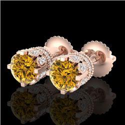 3 CTW Intense Fancy Yellow Diamond Art Deco Stud Earrings 18K Rose Gold - REF-349Y3K - 37365
