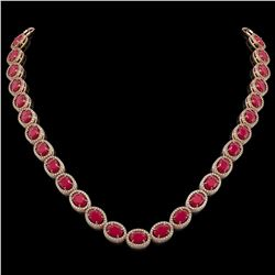 52.15 CTW Ruby & Diamond Halo Necklace 10K Rose Gold - REF-655W3F - 40557