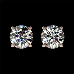 1 CTW Certified H-SI/I Quality Diamond Solitaire Stud Earrings 10K Rose Gold - REF-94A5X - 33050
