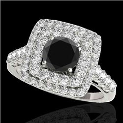 2.3 CTW Certified VS Black Diamond Solitaire Halo Ring 10K White Gold - REF-118F5N - 34597