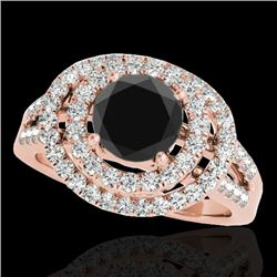 1.75 CTW Certified VS Black Diamond Solitaire Halo Ring 10K Rose Gold - REF-101N5Y - 34287