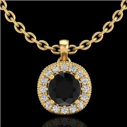 1.1 CTW Fancy Black Diamond Solitaire Art Deco Stud Necklace 18K Yellow Gold - REF-79H3A - 37998