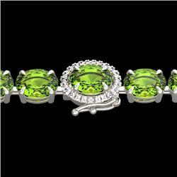 32 CTW Peridot & VS/SI Diamond Tennis Micro Pave Halo Bracelet 14K White Gold - REF-154K4W - 23433