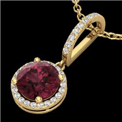 2.75 CTW Garnet & Micro Pave VS/SI Diamond Necklace Designer Halo 18K Yellow Gold - REF-55X5T - 2319