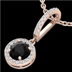1 CTW Micro Pave Halo Black & White VS/SI Diamond necklace 14K Rose Gold - REF-49N3Y - 23269