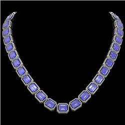 79.99 CTW Tanzanite & Diamond Halo Necklace 10K White Gold - REF-1704Y2K - 41483