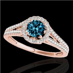 1.3 CTW Si Certified Fancy Blue Diamond Solitaire Halo Ring 10K Rose Gold - REF-162W8F - 33888