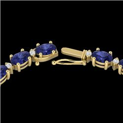 46.5 CTW Tanzanite & VS/SI Certified Diamond Eternity Necklace 10K Yellow Gold - REF-439X5T - 29437
