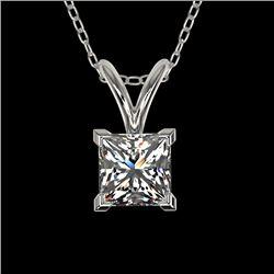0.50 CTW Certified VS/SI Quality Princess Diamond Necklace 10K White Gold - REF-79X5T - 33166