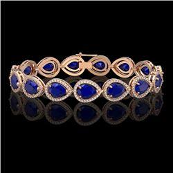 30.06 CTW Sapphire & Diamond Halo Bracelet 10K Rose Gold - REF-344F2N - 41241