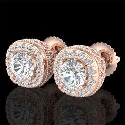 1.69 CTW VS/SI Diamond Solitaire Art Deco Stud Earrings 18K Rose Gold - REF-263H6A - 37119