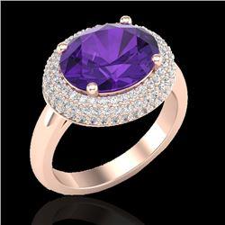 4 CTW Amethyst & Micro Pave VS/SI Diamond Ring 14K Rose Gold - REF-89K8W - 20901
