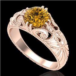 1 CTW Intense Fancy Yellow Diamond Engagement Art Deco Ring 18K Rose Gold - REF-204N5Y - 37533
