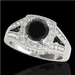 1.65 CTW Certified VS Black Diamond Solitaire Halo Ring 10K White Gold - REF-153K8W - 34462