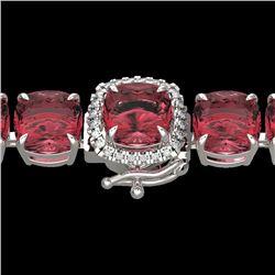 40 CTW Pink Tourmaline & Micro VS/SI Diamond Halo Bracelet 14K White Gold - REF-476A5X - 23319