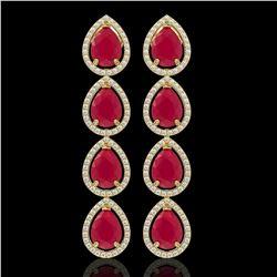 16.01 CTW Ruby & Diamond Halo Earrings 10K Yellow Gold - REF-199A6X - 41287