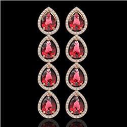 10.48 CTW Tourmaline & Diamond Halo Earrings 10K Rose Gold - REF-211N8Y - 41301