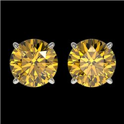 2.11 CTW Certified Intense Yellow SI Diamond Solitaire Stud Earrings 10K White Gold - REF-297M2H - 3