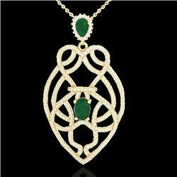 3.50 CTW Emerald & Micro VS/SI Diamond Heart Necklace Solitaire 14K Yellow Gold - REF-179W6F - 21249