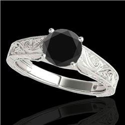1 CTW Certified VS Black Diamond Solitaire Ring 10K White Gold - REF-45X8T - 35185