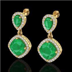 7 CTW Emerald & Micro Pave VS/SI Diamond Earrings Designer Halo 10K Yellow Gold - REF-107M3H - 20206