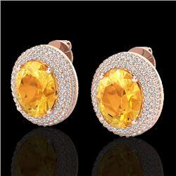 8 CTW Citrine & Micro Pave VS/SI Diamond Earrings 14K Rose Gold - REF-142A9X - 20220