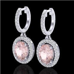 3.25 CTW Morganite & Micro Pave VS/SI Diamond Earrings Halo 18K White Gold - REF-145N5Y - 20328