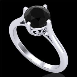 1.25 CTW Fancy Black Diamond Solitaire Engagement Art Deco Ring 18K White Gold - REF-81H8A - 38059