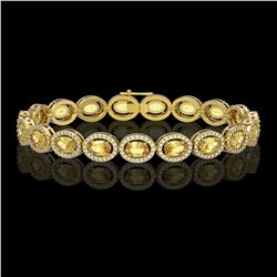 12.73 CTW Fancy Citrine & Diamond Halo Bracelet 10K Yellow Gold - REF-226X9T - 40495