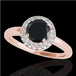1.43 CTW Certified VS Black Diamond Solitaire Halo Ring 10K Rose Gold - REF-65H6A - 33665