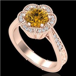 1.33 CTW Intense Fancy Yellow Diamond Engagement Art Deco Ring 18K Rose Gold - REF-227N3Y - 37960