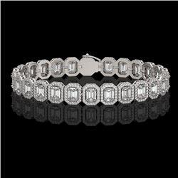 17.28 CTW Emerald Cut Diamond Designer Bracelet 18K White Gold - REF-3582M4H - 42788