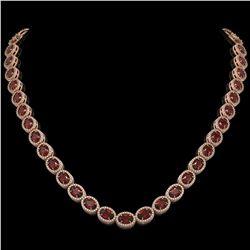 32.82 CTW Garnet & Diamond Halo Necklace 10K Rose Gold - REF-501A3X - 40446