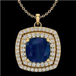 2.52 CTW Sapphire & Micro Pave VS/SI Diamond Halo Necklace 18K Yellow Gold - REF-76M4H - 20464