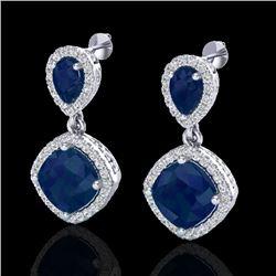 7 CTW Sapphire & Micro Pave VS/SI Diamond Earrings Designer Halo 10K White Gold - REF-107N3Y - 20209