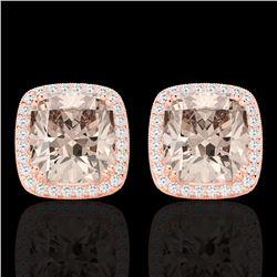 6 CTW Morganite & Micro Pave VS/SI Diamond Halo Earrings 14K Rose Gold - REF-106K2W - 22807