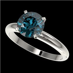 2 CTW Certified Intense Blue SI Diamond Solitaire Engagement Ring 10K White Gold - REF-417F6N - 3293