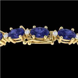 15 CTW Tanzanite & VS/SI Diamond Eternity Bracelet 10K Yellow Gold - REF-119X3T - 21463